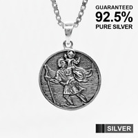 925 Sterling Silver SAINT ST CHRISTOPHER Protection Pendant ✔️Solid ✔️UK Seller
