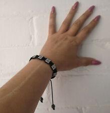 Gorgeous Black & diamante adjustable corded friendship bracelet