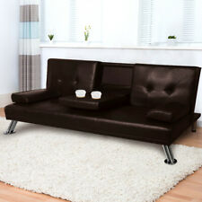 Adjustable Sofa Bed Lounge Futon Couch Leather Beds 3 Seater Cup Holder Recliner