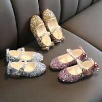 Children Kids Girls Cute Crystal Bowknot Pearl Princess Dance Single Casual Shoe