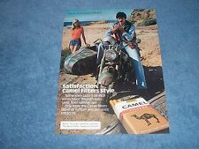 1979 Camel Filters Cigarettes Vintage Ad with Motorcycle and Sidecar