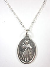"The Divine Mercy of Jesus Medal Pendant Necklace 20"" Chain Gift Box Prayer Card"