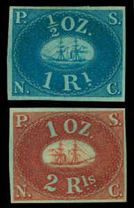 PERU 1857 PACIFIC STEAM NAVIGATION Co (PSNC) 1st issue set Scott 1-2 mint MH VF+