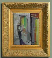 JOSE TRUJILLO - FRAMED EXPRESSIONIST OIL PAINTING ABSTRACT FIGURE INTERIOR ROOM