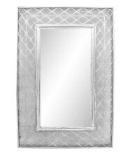 105cm Mirror - Silver Lotus Patterned Metal Modern Wall Mirror 105x70x5cm