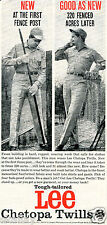 1959 Print Ad of Tough Tailored Lee Chetopa Twills Pants & Shirts fence builder