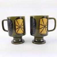 Vintage Stoneware Mugs Pottery Coffee Soup Mug Cup Decor Boho Pedestal