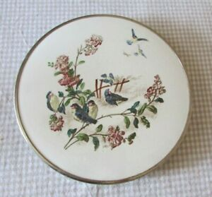 Beautiful Antique French Chrome & Porcelain Bird Swallow Trivet c1930s