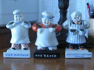 BUTCHER, BAKER, CANDLESTICK MAKER - TRIO OF GOLDCASTLE TOOTHBRUSH HOLDERS 1930s