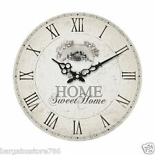 HOME SWEET HOME OFFICE TIME SHABBY CHIC WOOD MDF WALL MOUNTABLE CLOCK KITCHEN