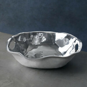 Beatriz Ball Vento Rebecca Oval Medium Bowl with Handles Brand New Tarnish-Free