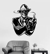 Vinyl Wall Decal Gangster with Cigar Dead Skull Mafia Stickers (ig4050)