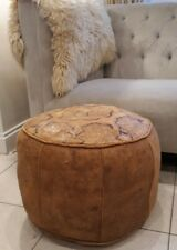 VINTAGE LARGE TAN MOROCCAN LEATHER POUFFE FOOTSTOOL OTTOMAN SOFT  ETCHED PATTERN