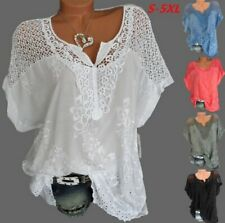 Women Summer Casual Sexy Lace Loose Hollow Floral T Shirt Blouse Tee Tops