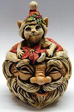Harmony Kingdom Art Neil Eyre Designs Christmas Santa Hat Cat tea light lantern
