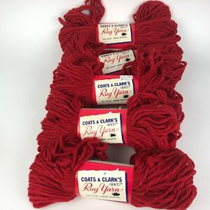 Vintage LOT COATS & CLARKS Rug Yarn Skein #126 SPANISH RED 75% Rayon 25% Cotton