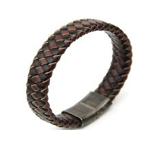 Brown/Black Mixed Woven Leather Men Bracelet Stainless Steel Gun Metal Clasp