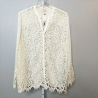 Chicos NWT Size 2 Top Shirt Blouse Lace Bell Sleeve Ivory Button Down New Sheer
