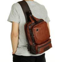 Men's Leather Sling Bag Backpack Chest Shoulder Bag Crossbody Bag Sports Riding