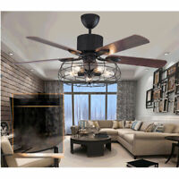 """52"""" LED Ceiling Fan Light Wooden Pendant Lamp 5 Blades Reversible 3 Speed Remote"""