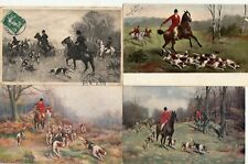 Lot 4 cartes postales anciennes FANTAISIES chasse à courre hunting with hounds