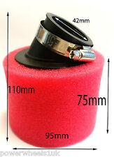 AF023 42MM Rojo Esponja Filtro de aire en ángulo para cuatro suciedad Pit Bike ATV
