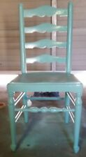 VINTAGE PHOENIX CHAIR COMPANY SHEBOYGAN WISCONSIN TURQUOISE LADDER BACK CHAIR