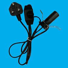 E14 Black UK Plug Light Bulb Holder Inline Dimmer Switch Desk Table Salt Lamp