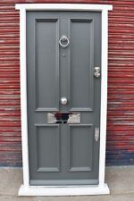 Hardwood Traditional four panel grey Front Door in white frame! Bespoke!