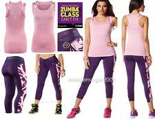 ZUMBA Capri LEGGINGS & BRA TOP Posh in Pink Yoga Dance EliteZWear L - 2Pc.Set!!