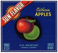 SUN FLAVOR Brand, Watsonville, Resetar **AN ORIGINAL APPLE FRUIT LABEL**