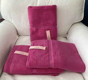 "Kate Spade New York Fuchsia - pink - Bath Towels 30""x 56"" Set of 3 - NWT"