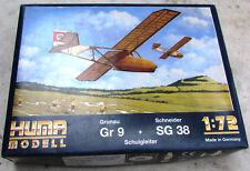 HUMA Modell Bausatz Grunau + Schneider Gr 9 + SG 38 Schulgleiter in 1:72
