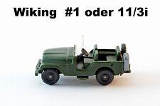 Wiking # 1 oder Nr. 11/3i Jeep abgerundete Haube mit AHK Farbe Olive 1:87