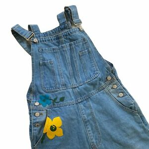 Misslook Overalls Womens Small Denim Floral Flower Painted Hippie Boho