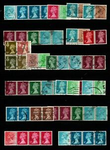 GB Selection of decimal used definitives setenant strips or blocks (50+ stamps)