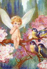 Angel Fairiy Baby , Blue Birds Blossoms by Fred Sprugin vintage art