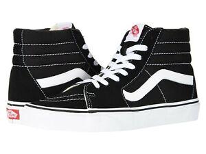Vans SK8 HI Mens Womens Black White Canvas Lace Up High Top Skateboard Shoes