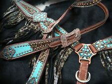 Metallic Teal Leopard Crystal Copper Conchos Leather Horse Bridle Breast Collar