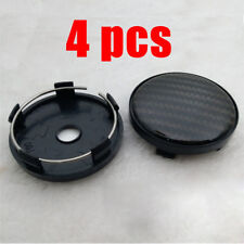 4pcs 60mm/ 58mm Black carbon fiber pattern Wheel Hub Center Caps ABS Plastic