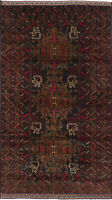 """Hand-knotted Carpet 3'10"""" x 7'0"""" Traditional Vintage Wool Rug"""
