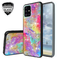 For Samsung Galaxy A51 5G Case Marble Rainbow Glitter TPU Cover +Tempered Glass