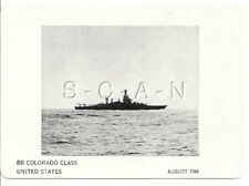 WWII Double Sided Recognition Photo Card- Navy Battleship BB Colorado- Aug 1944