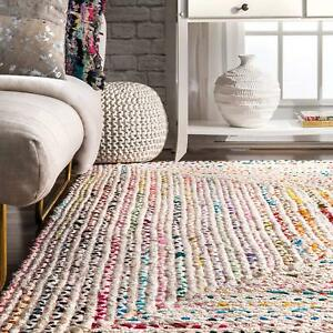 Braided Rug Rectangle Woven Indian White Chindi Throw Living Room Dhurrie
