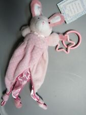 NWT PRESTIGE BABY PINK BUNNY SECURITY BLANKET PUPPET LOVEY TEETHER