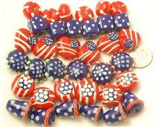 Handmade Lampwork Glass July 4th Patriotic Beads Mixed (70)