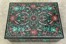 "8"" x 6"" Black Marble Jewelry Box Semi Precious Stones Handmade Inlay Work"