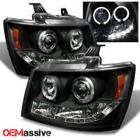 Fits 07-14 Suburban Avalanche Black Bezel Dual Halo Projector Headlights Lamps
