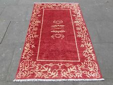 Traditional Hand Made Afghan Contemporary Gabbeh Wool Red Gold Rug 183x119cm