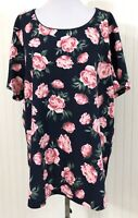 Karen Scott NWT Women's Plus Size 2X Knit Blouse Floral Blue Pink Short Sleeves